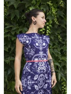 Folky blue - midi šaty
