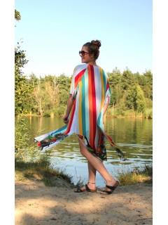 Boho color stripes kimono