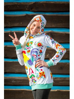 Kohútik Jarabý - biela dámska termo mikina