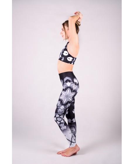 Lines mandalas black yoga set with long leggins